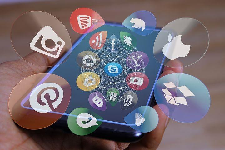 ソーシャルメディア, 社交, 画面, アイコン, スマート フォン, メディア
