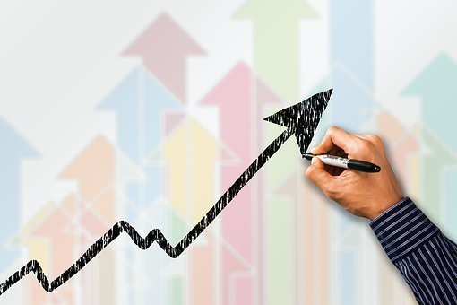 仕事, 成功, 曲線, 手, 描く, 現在, 傾向, 利益, 共有, 増加
