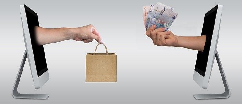 Eコマース, オンライン, 店, ユーロ, お金, 買う, 購入, 買い物